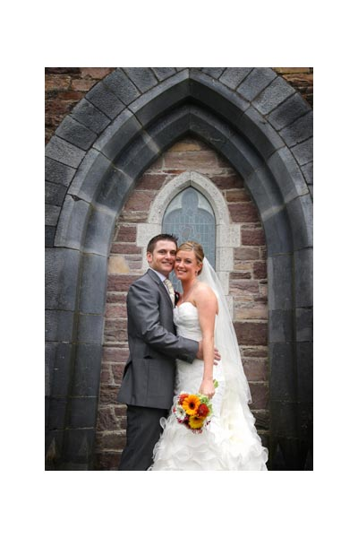 Bridal Couple Outside Church
