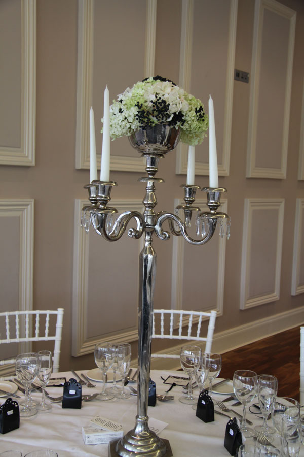Tall candelabra with hydrangea