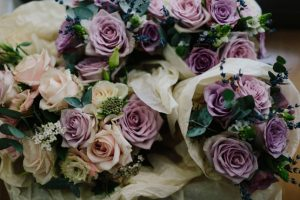 bridesmaids cloudy roses