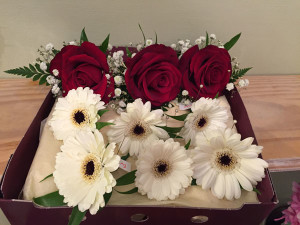 gerbera & rose buttonholes