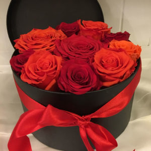 Large Luxury Hat Box with Orange and Red Preserved Roses