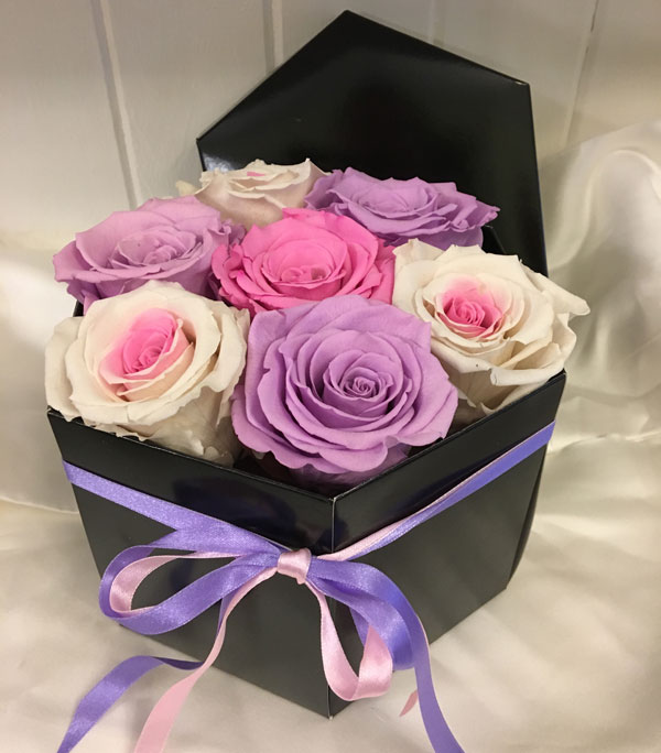 Medium Luxury Hat Box with Pink & Lilac Preserved Roses