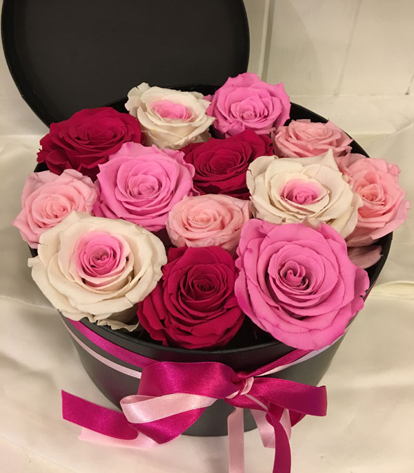 Large Luxury Hat Box with Pink and Red Preserved Roses