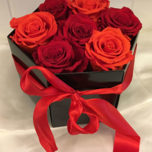 Medium Luxury Hat Box with Orange and Red Preserved Roses