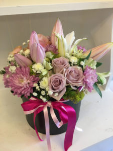 mothers day flowers in hatbox