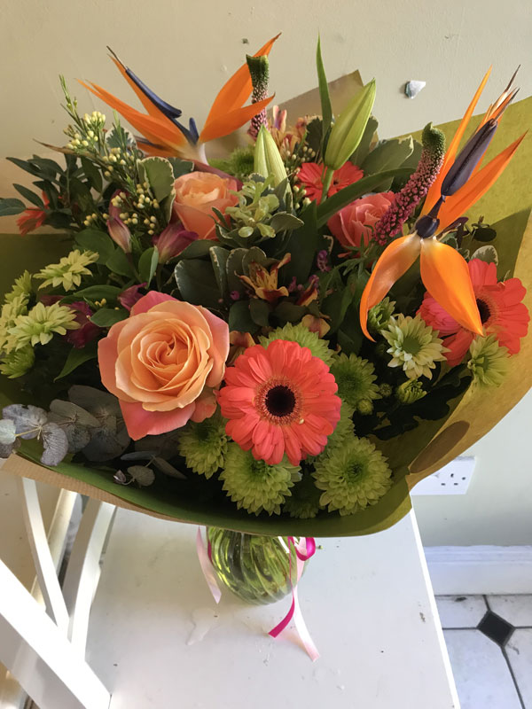 large tropical bouquet with vase