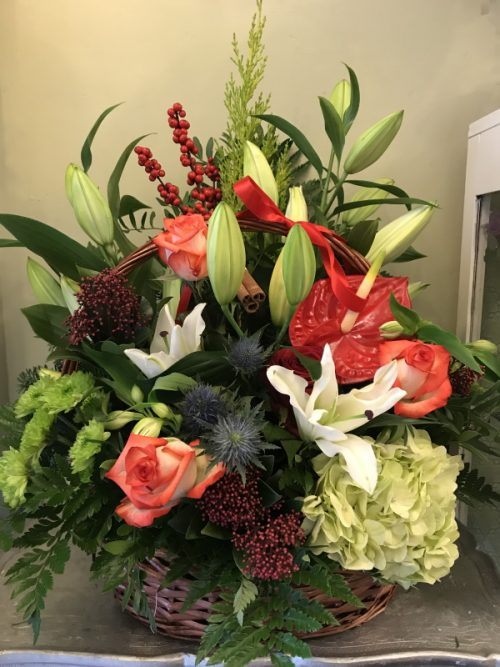 festive basket arrangment