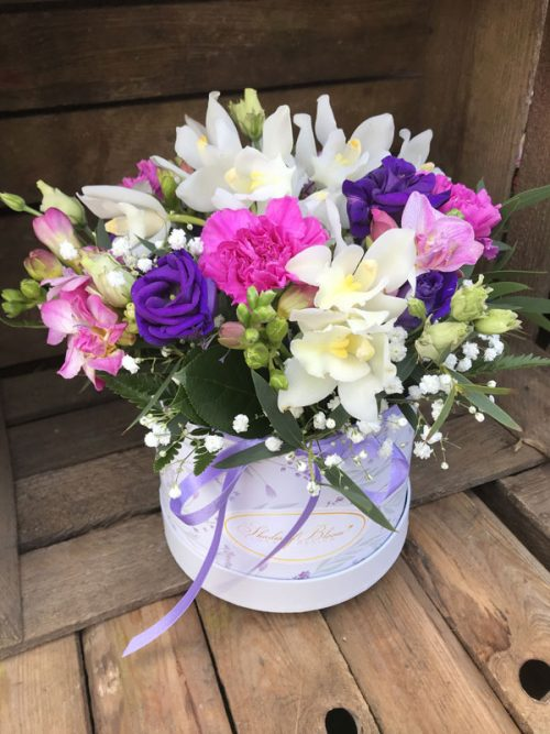 hatbox flower arrangement