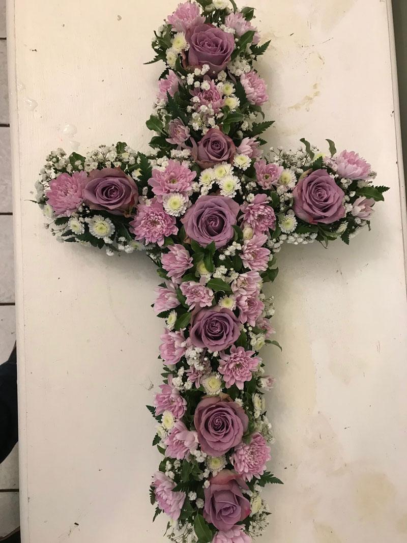 large cross grave tribute