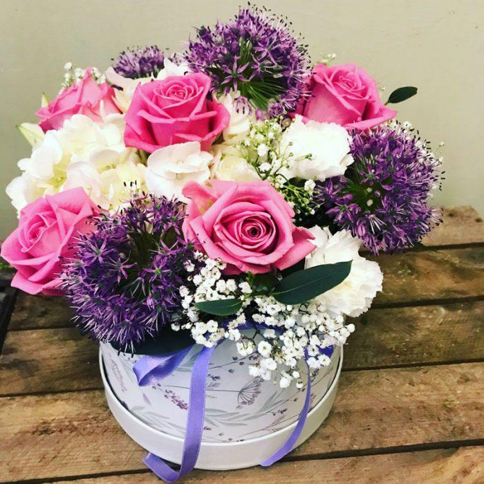 pink flower hatbox