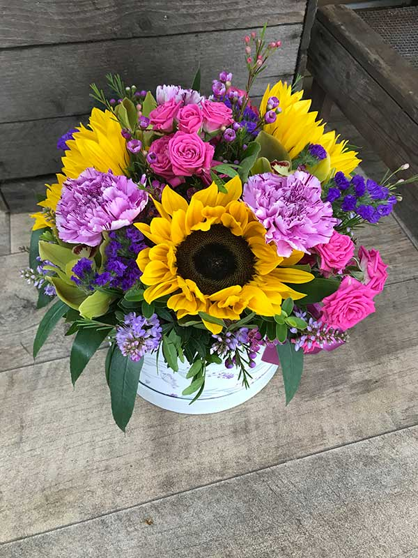 large hatbox bouquet