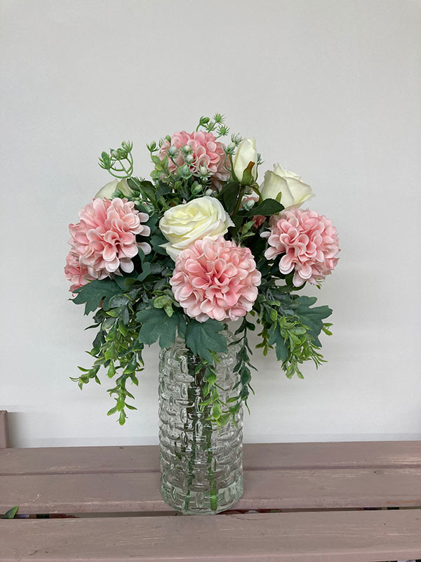 tall rose and crysanths in glass vase