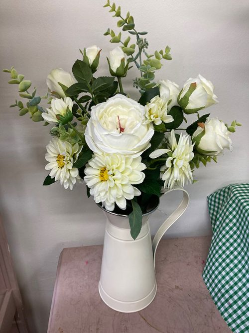 Large jug with white silk roses