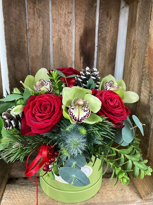 Christmas hatbox arrangement