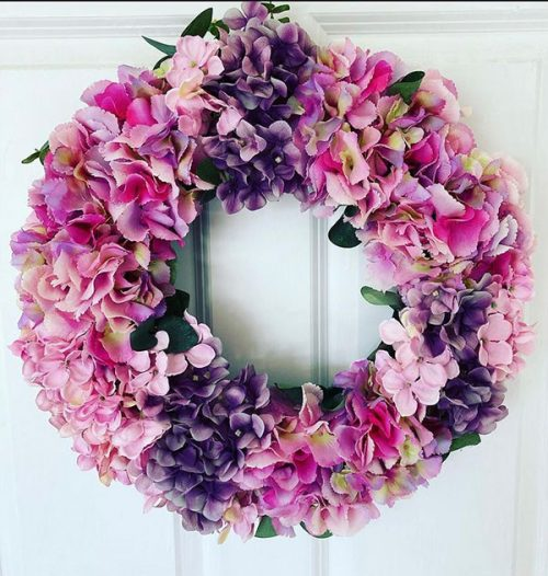 Faux flower pinks and purple wreath