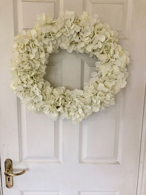 Faux large white hydrangea wreath