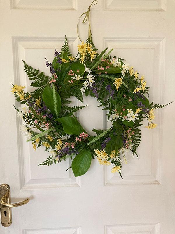 Faux spring wreath