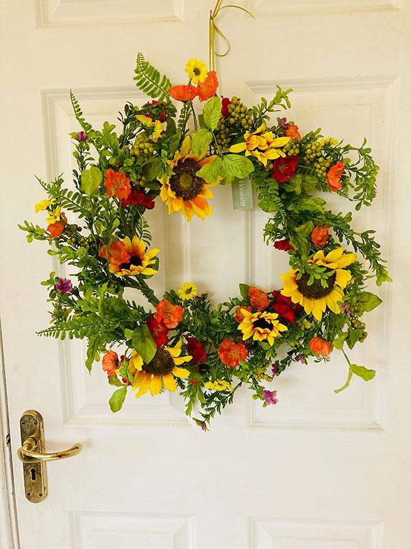 faux flower summer wreath