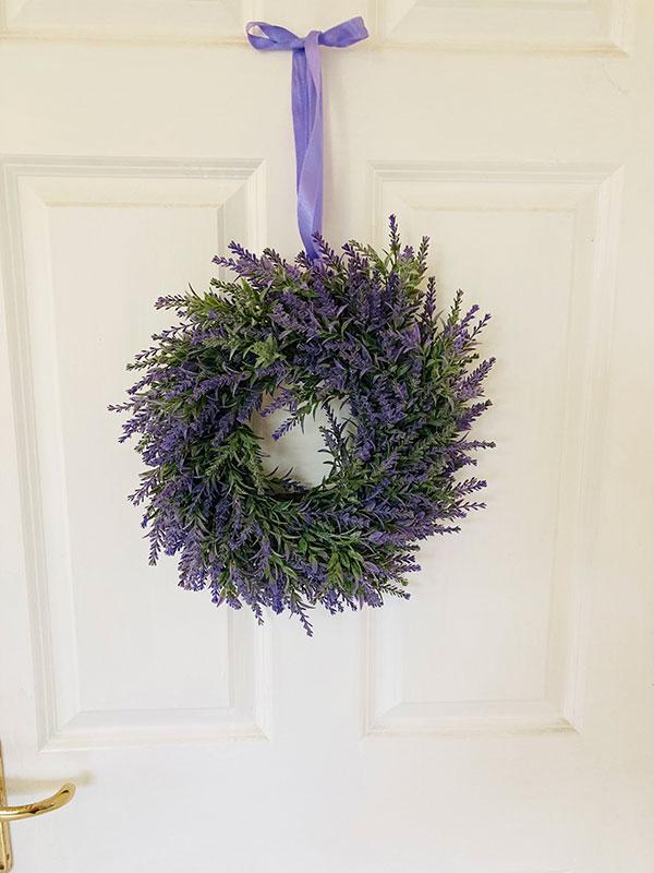 Faux lavender wreath