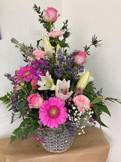 Cottage basket of flowers