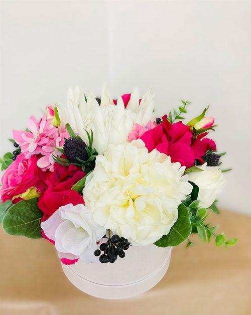 medium faux flowers hatbox
