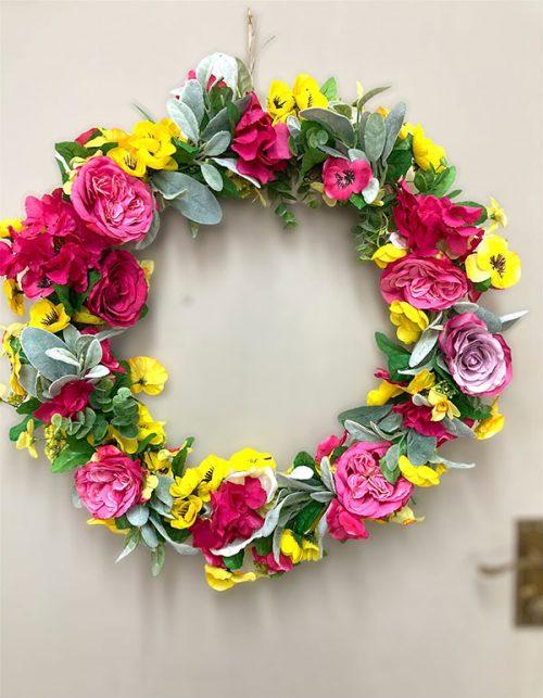 faux flowers summer wreath