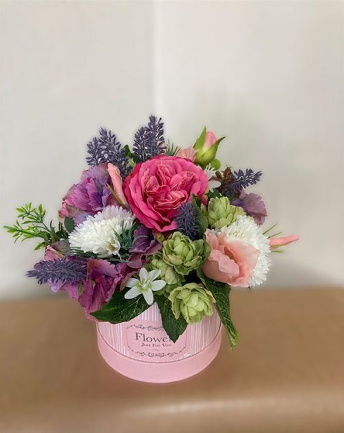 faux flowers hatbox small