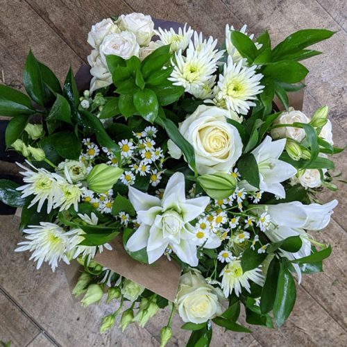 Large seasonal bouquet in whites and green