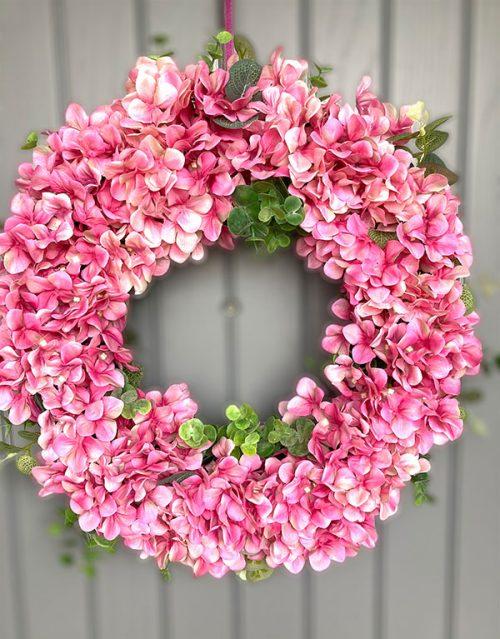faux hydrangea wreath