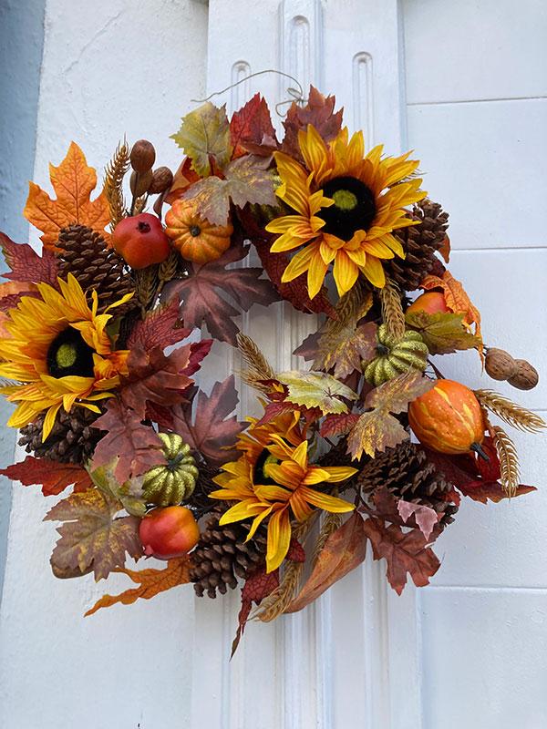 sunflower autumn door wreath